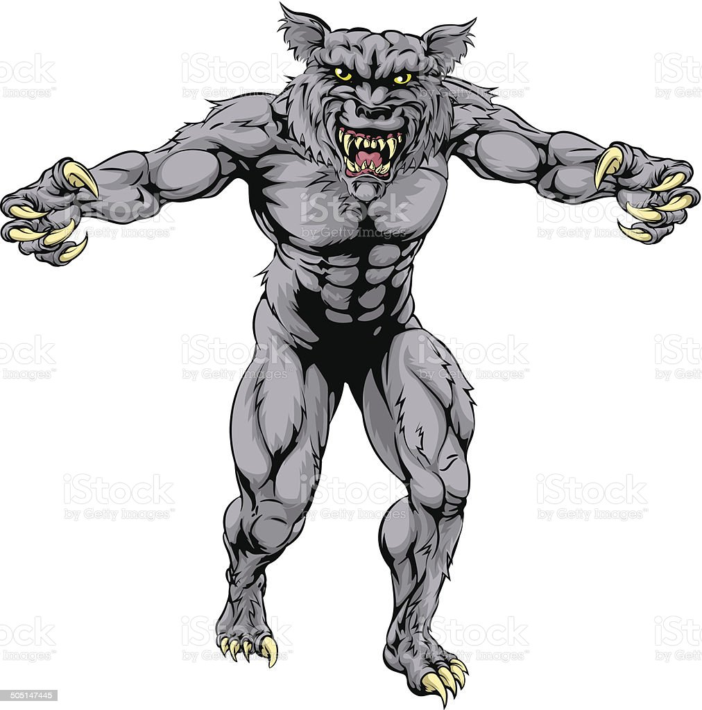 Werewolf Wolf Scary Sports Mascot Stock Vector Art More Images Of