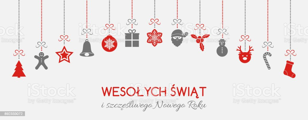 wesolych swiat merry christmas in polish christmas decoration vector royalty free
