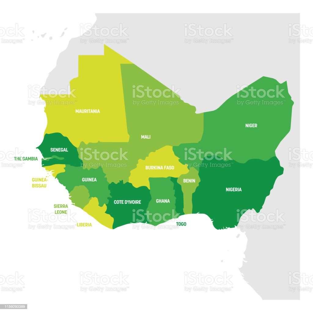 Countries Of West Africa Map.West Africa Region Map Of Countries In Western Africa Vector