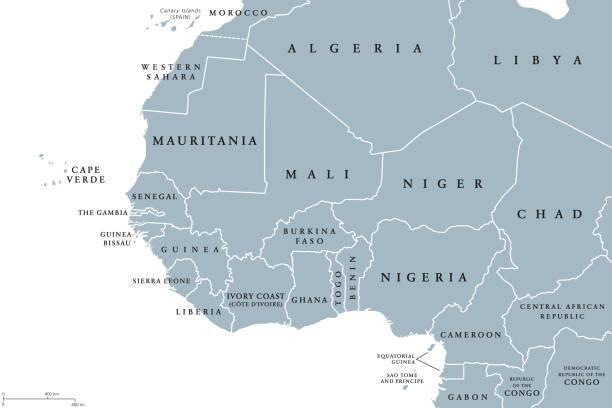 ilustrações de stock, clip art, desenhos animados e ícones de west africa region political map - cabo verde