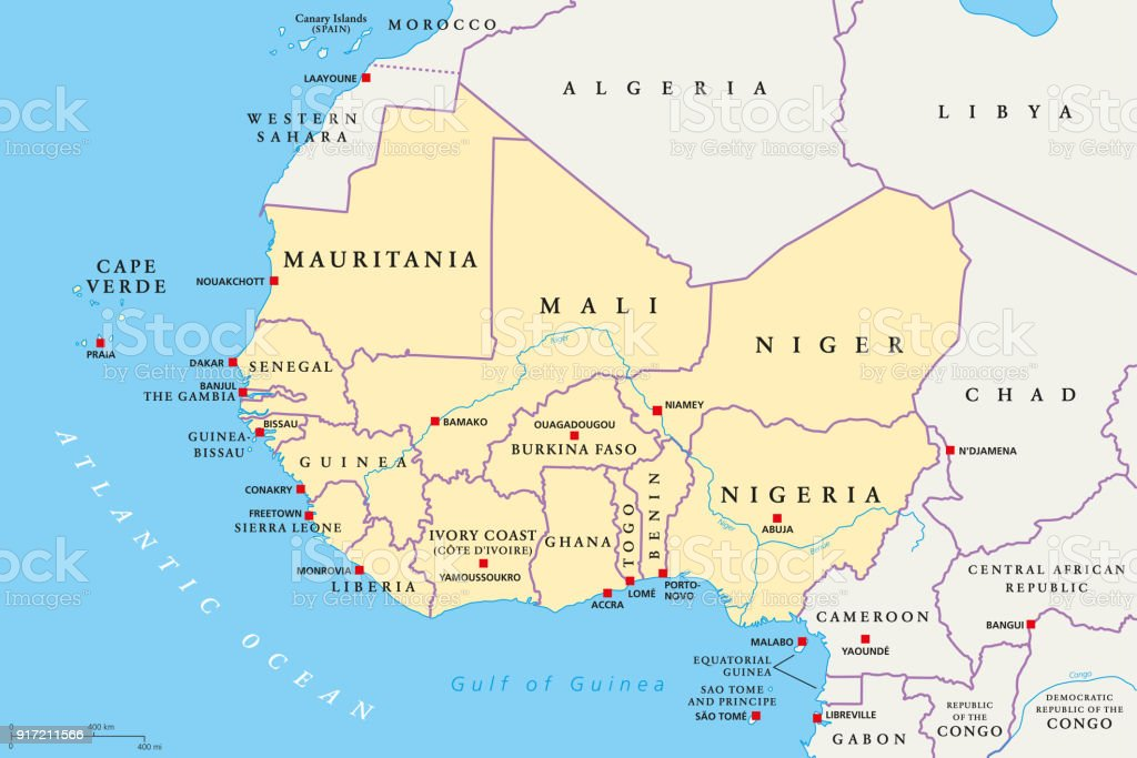 Gambia West Africa Map.West Africa Region Political Map Stock Illustration