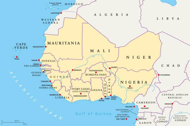 Westafrika, politische Karte – Vektorgrafik