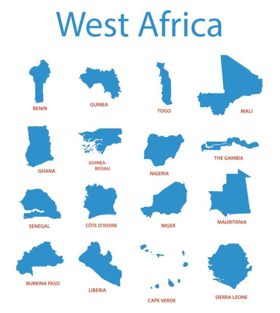 west africa - vector maps of territories west africa - vector maps of territories côte d'ivoire stock illustrations