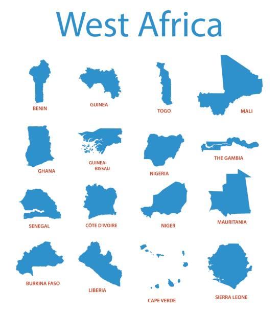ilustrações de stock, clip art, desenhos animados e ícones de west africa - vector maps of territories - cabo verde