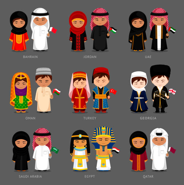 west asia and middle east. people in national dress. - oman stock illustrations