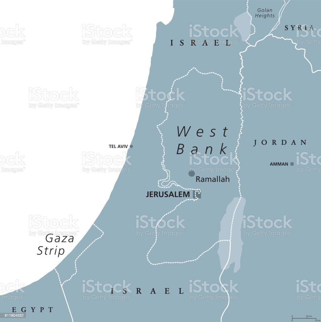 West Bank And Gaza Strip Political Map Stock Vector Art & More ...