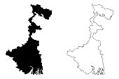 West Bengal (States and union territories of India, Federated states, Republic of India) map vector illustration, scribble sketch West Bengal state map