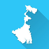 White map of West Bengal isolated on a blue background with a long shadow effect and in a flat design style. Vector Illustration (EPS10, well layered and grouped). Easy to edit, manipulate, resize or colorize.