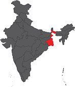 West Bengal red on gray India map vector