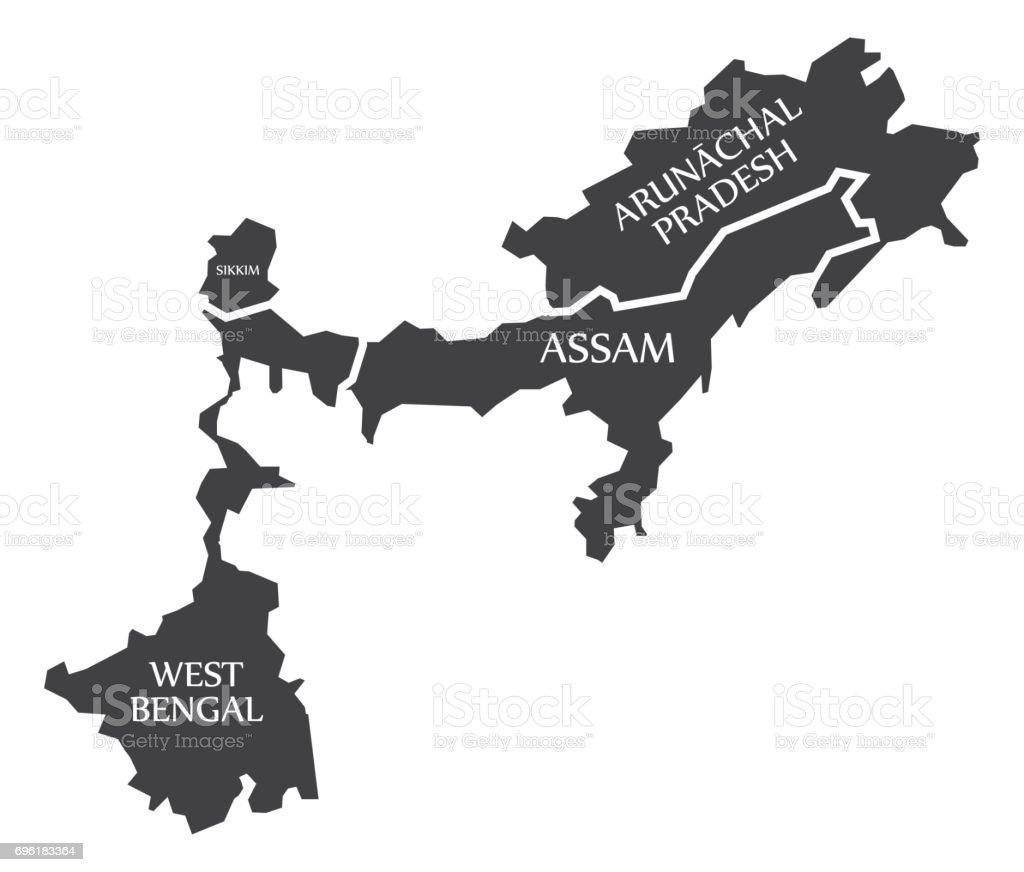 Carte Inde Sikkim.West Bengal Sikkim Assam Arunachal Pradesh Carte Illustration