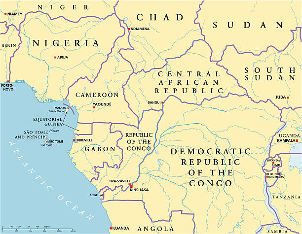 west central afrika politische karte - kamerun stock-grafiken, -clipart, -cartoons und -symbole