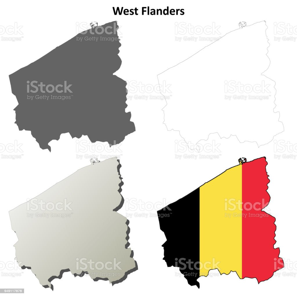 Belgien Karte Umriss.Westflandern Umriss Karte Set Belgische Version Stock Vektor Art Und