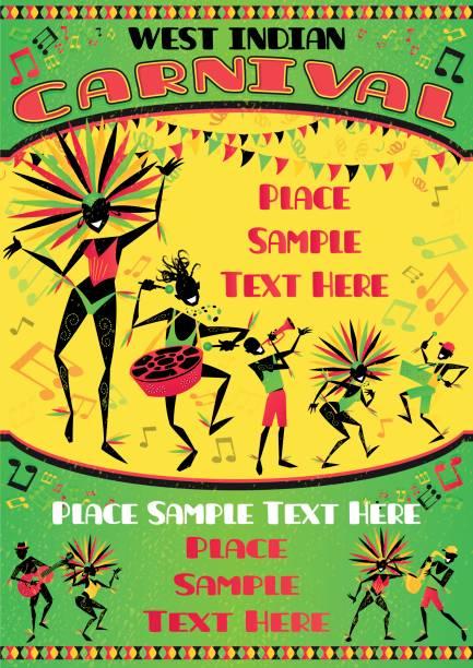 West Indian Carnival Portrait Poster vector art illustration