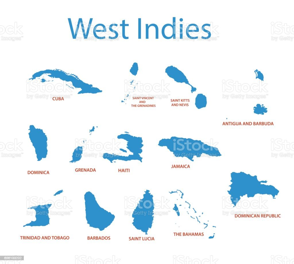 West Indies - vector maps of countries vector art illustration