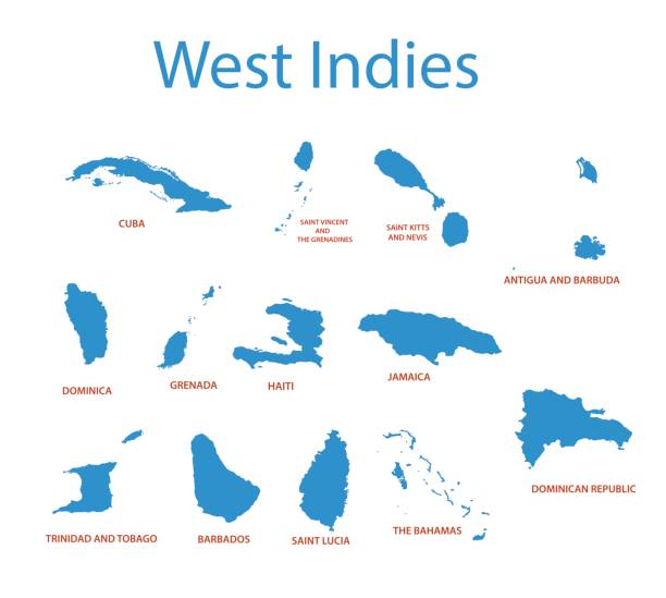 West Indies - vector maps of countries West Indies - vector maps of countries haiti stock illustrations