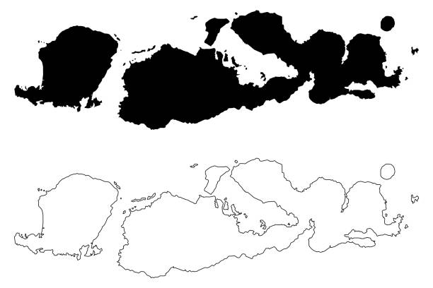 West Nusa Tenggara map vector West Nusa Tenggara (Subdivisions of Indonesia, Provinces of Indonesia) map vector illustration, scribble sketch Nusa Tenggara Barat (Lesser Sunda Islands) map lagbok stock illustrations