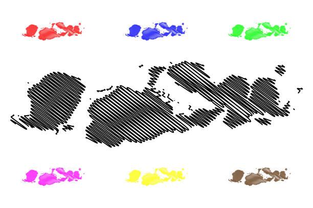 west nusa tenggara karte vektor - lombok stock-grafiken, -clipart, -cartoons und -symbole