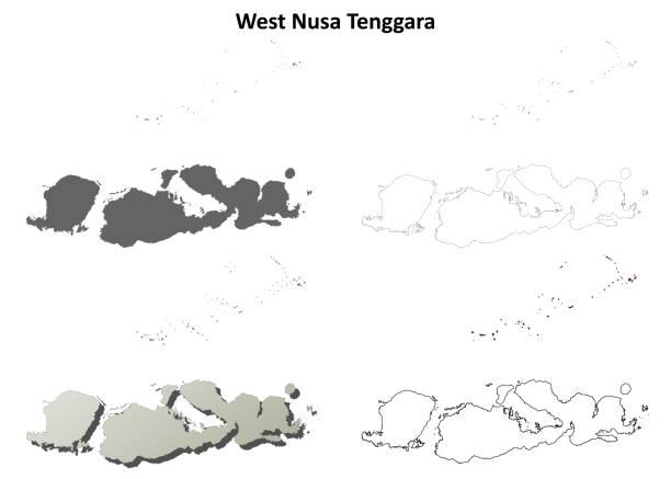 West Nusa Tenggara outline map set West Nusa Tenggara blank outline map set lagbok stock illustrations