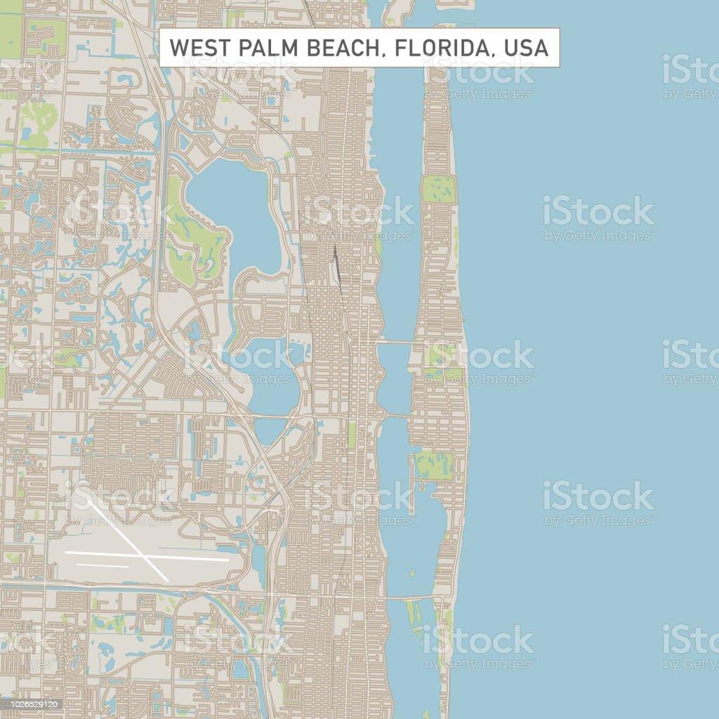 City Map Of Florida.West Palm Beach Florida Us City Street Map Stock Vector Art More