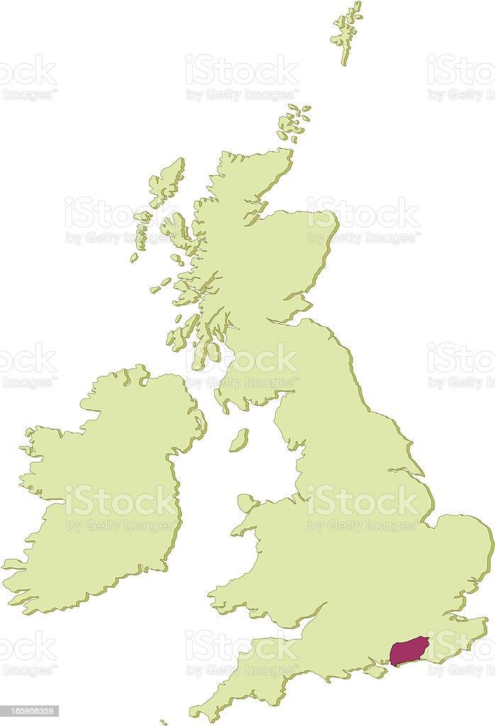 UK West Sussex map vector art illustration