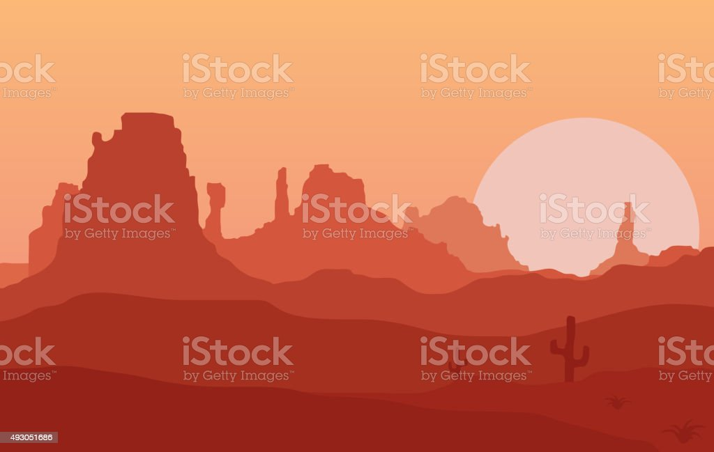 West. vector art illustration