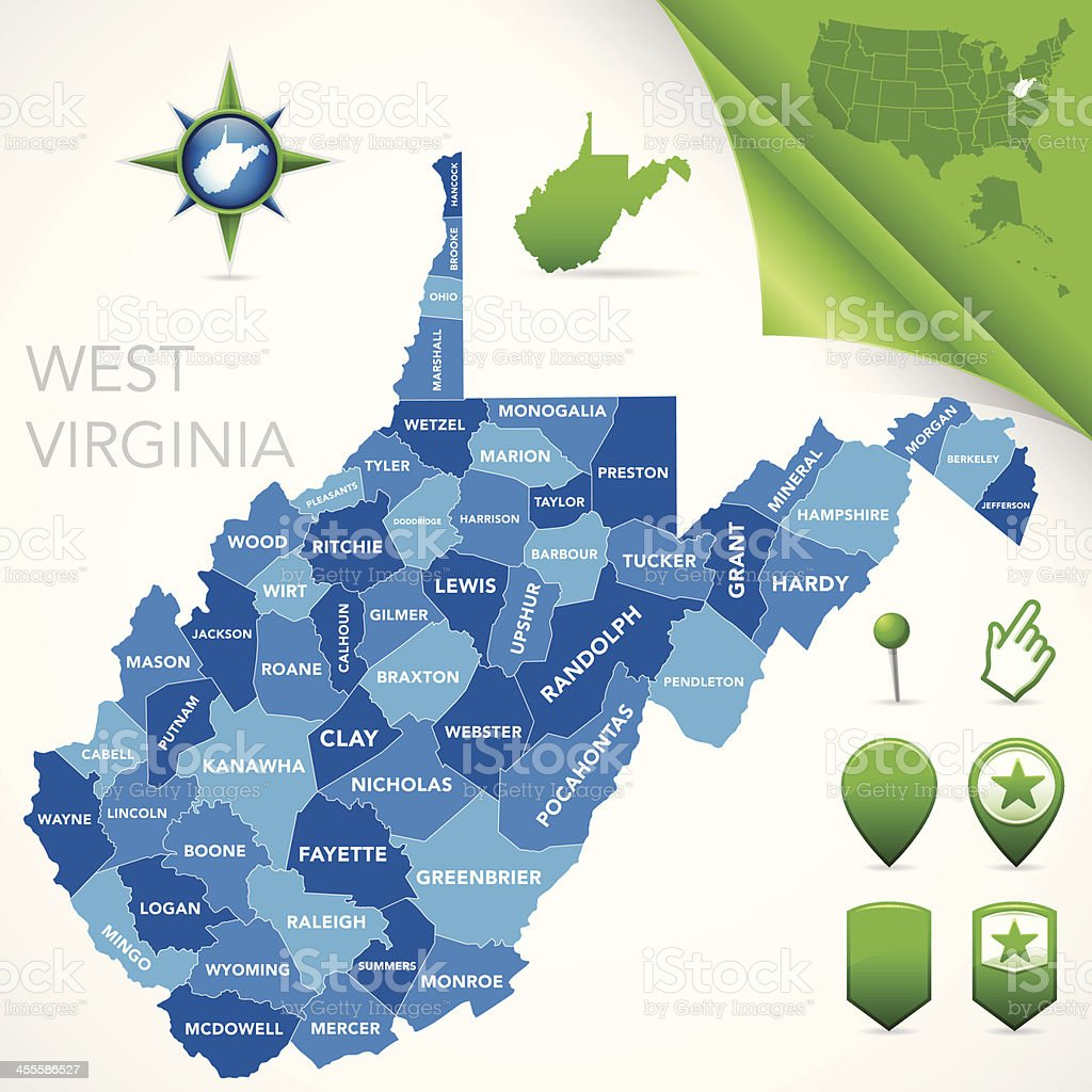 West Virginia County Map Stock Illustration - Download Image ...