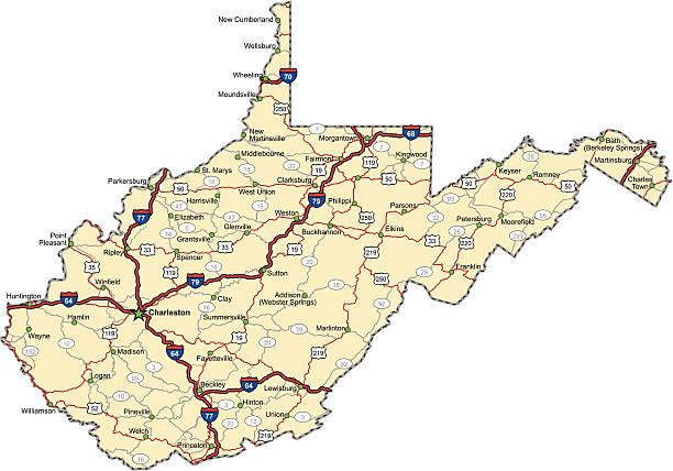 West Virginia Highway Map (vector) vector art illustration