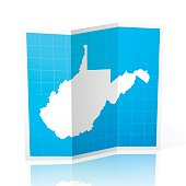 West Virginia Map folded, isolated on white Background