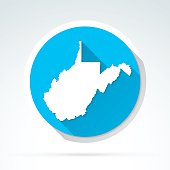 West Virginia map icon, Flat Design, Long Shadow