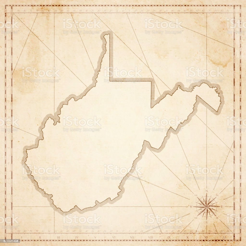 West Virginia Map In Retro Vintage Style Old Textured Paper Stock - Vintage map of virginia