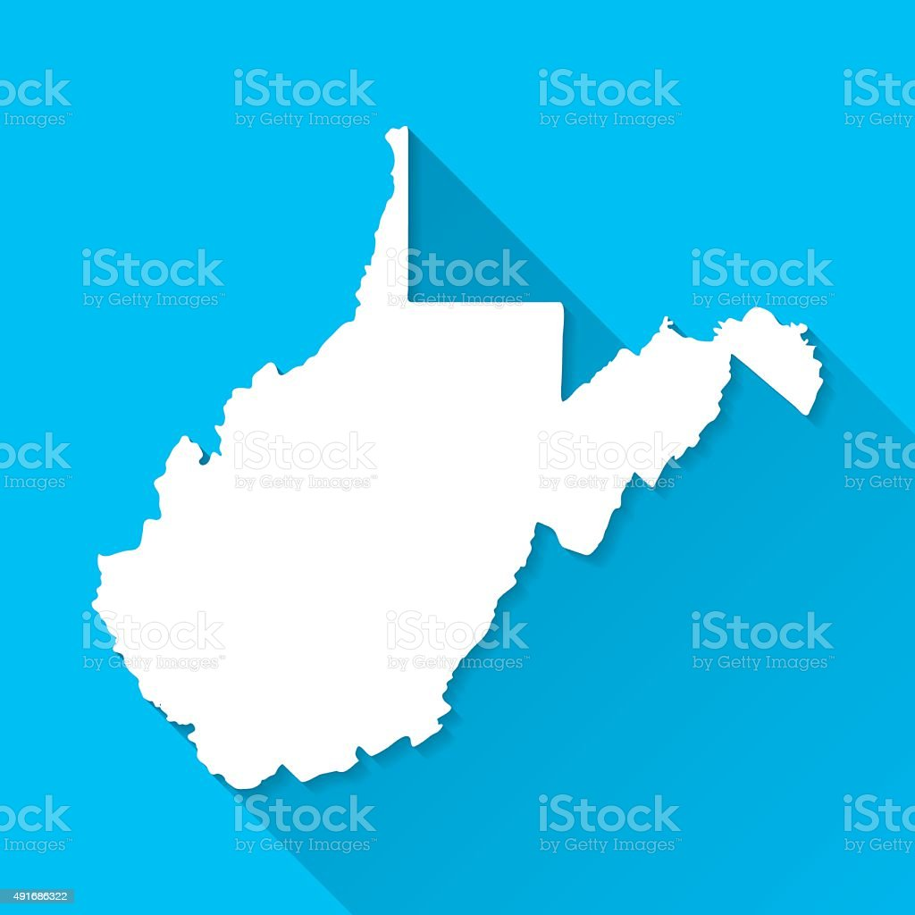 West Virginia Map on Blue Background, Long Shadow, Flat Design vector art illustration