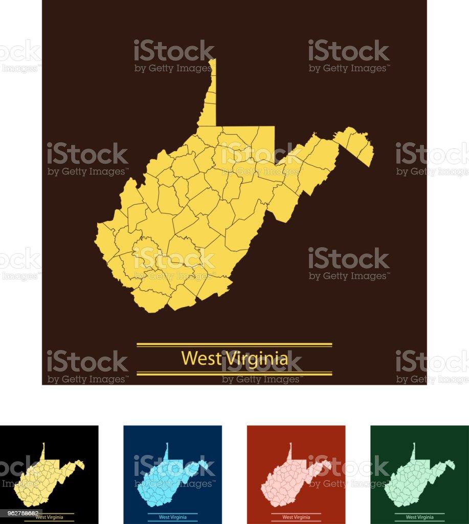 West Virginia map - arte vettoriale royalty-free di America del Nord