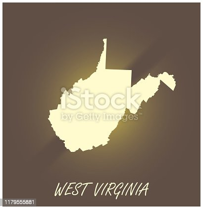 West Virginia map vector outline cartography black and white illuminated grunge background illustration
