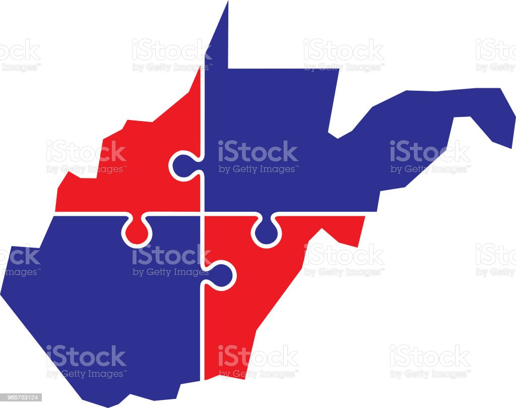 West Virginia Puzzle Map - Royalty-free Blue stock vector