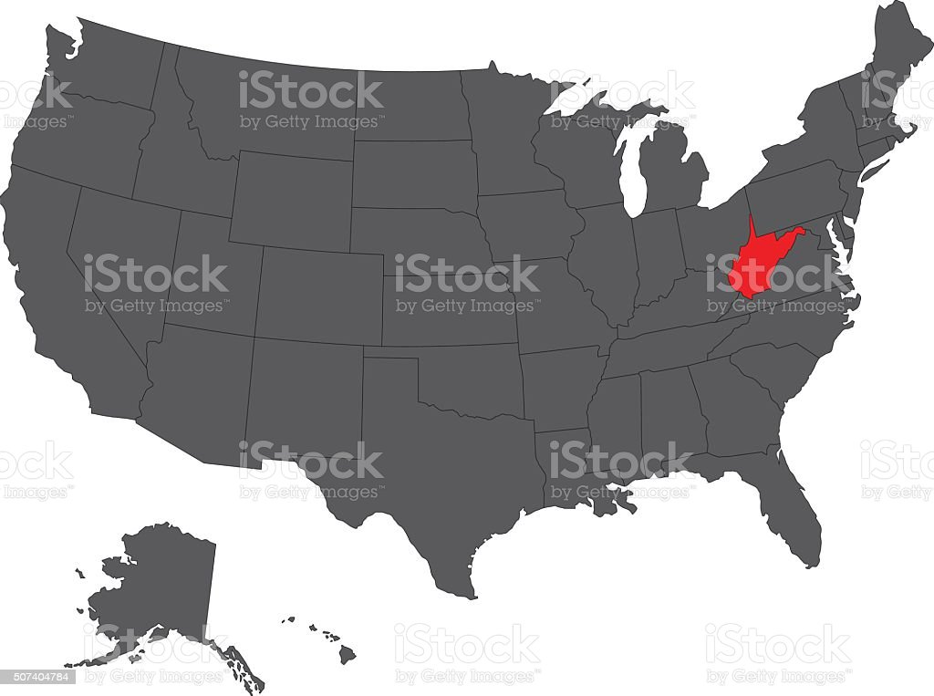 West Virginia Red Map On Gray Usa Map Vector Stock ...