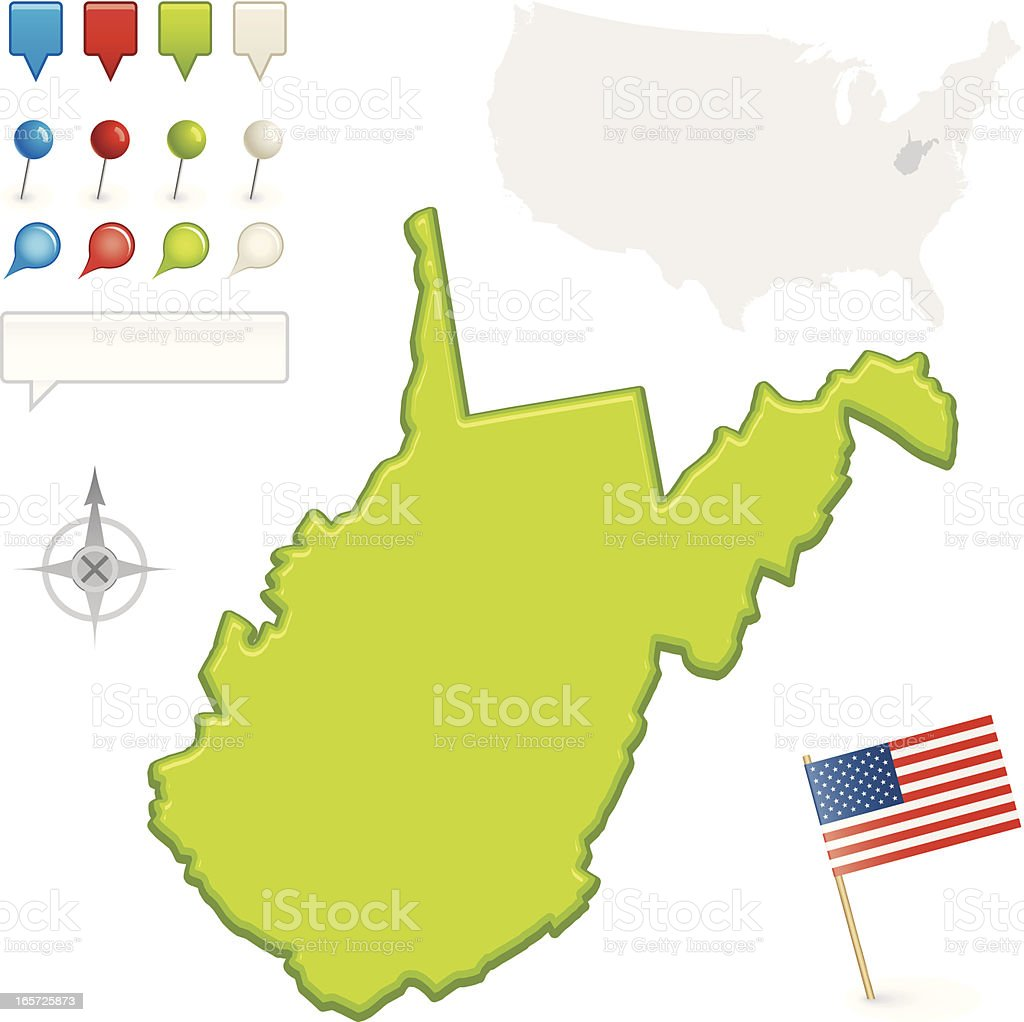West Virginia State Map vector art illustration