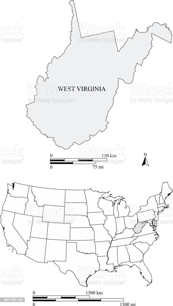 West Virginia State Of Us Map Vector Outlines With Scales Of Miles - Virginia on a us map