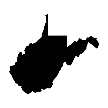 West Virginia, state of USA - solid black silhouette map of country area. Simple flat vector illustration.