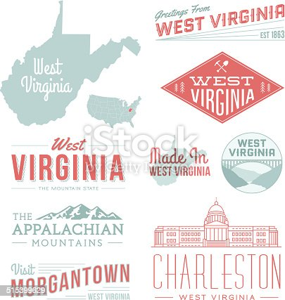 A set of vintage-style icons and typography representing the state of West Virginia, including the Appalachian Mountains, Morgantown and Charleston. Each items is on a separate layer. Includes a layered Photoshop document. Ideal for both print and web elements.