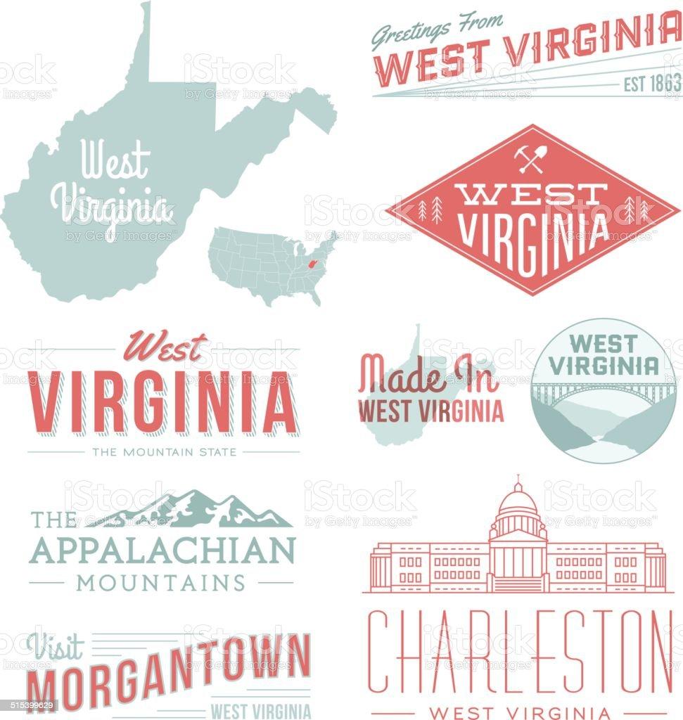 West Virginia Typography vector art illustration