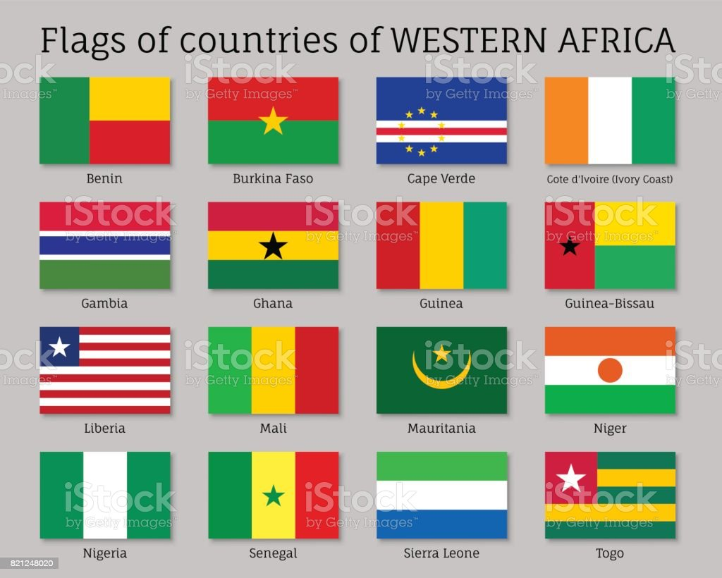 Conjunto de bandera de países de África occidental - ilustración de arte vectorial