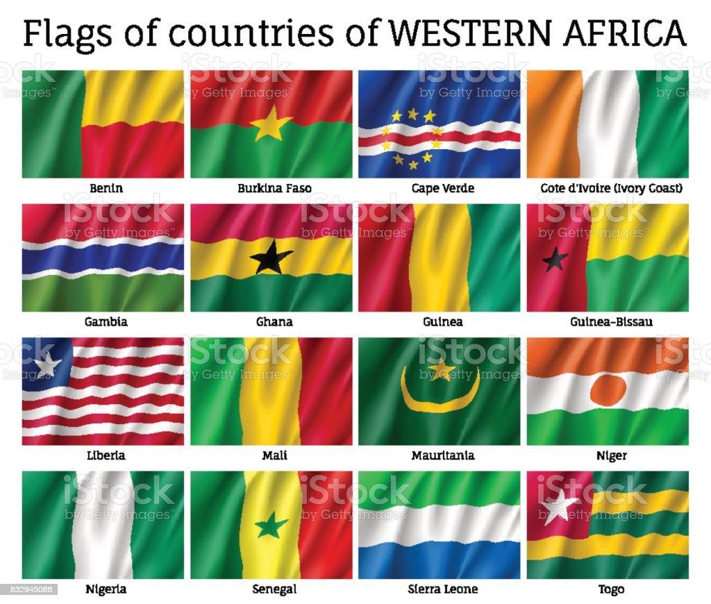 Conjunto de bandera de África occidental - ilustración de arte vectorial