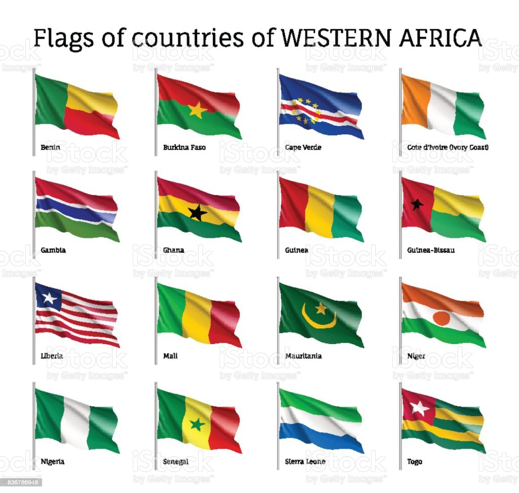 Western Africa flag set vector art illustration