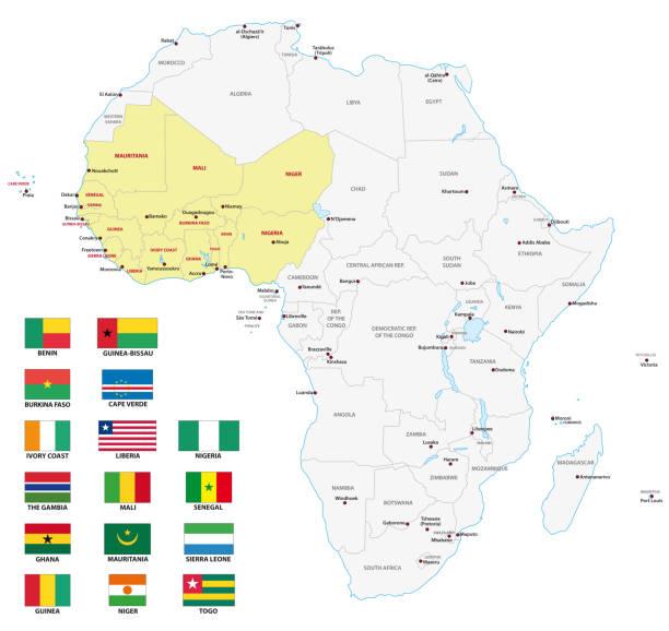ilustrações de stock, clip art, desenhos animados e ícones de western africa map with flags - cabo verde