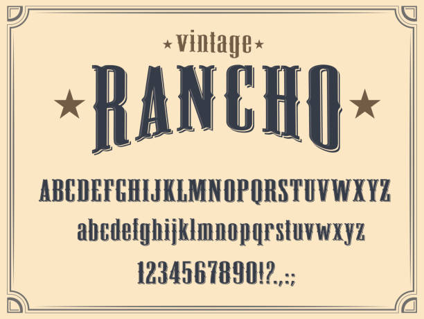 Western alphabet font, Wild West letters, numbers Wild West Western alphabet font vector design. Vintage type and typeface of capital and lowercase letters, numbers and punctuation marks, cowboy ranch, old American and Texas saloon themes southern usa stock illustrations