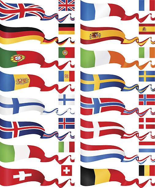 西洋と北ヨーロッパフラグバナーコレクション - スウェーデンの国旗点のイラスト素材/クリップアート素材/マンガ素材/アイコン素材