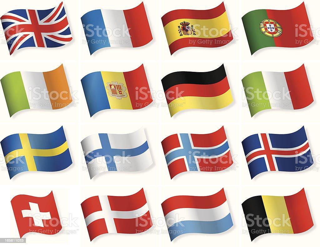 Western y del norte de Europa bandera de vector iconos - ilustración de arte vectorial