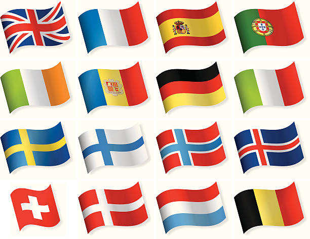 Western and Northern European vector flag icons vector art illustration