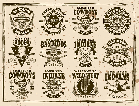 Western and wild west set of vector emblems, labels, badges or t shirt prints in vintage style on dirty background with stains and grunge textures