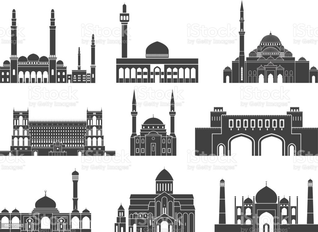 Western Asia. Architecture. Isolated Asian buildings on white background vector art illustration